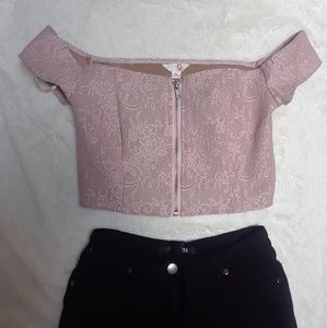 💜Guess pink crop top